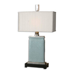 Uttermost - Uttermost Azure Lamp - Uttermost Azure Lamp is a part of Carolyn Kinder Collection by Uttermost This lamp has a light blue crackle porcelain body and nickel plated accents, and is topped nicely with a rectangular, ivory textile shade. Lamp (1)