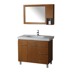 """Legion Furniture - 39 Inch Modern Single Sink Bathroom Vanity - This 29 inch modern single sink bathroom vanity is a perfect center piece for your bathroom project. This Honey Oak bathroom vanity features 2 doors, 3 drawers and a White ceramic counter top with integrated sink that is pre-drilled for a single hole faucet (faucet not included). Large opening in back for easy plumbing installation. Mirror and side mirror cabinet NOT included.  Dimensions: 39.3""""W  X 18.9""""D X 34""""H (Tolerance: +/- 1/4""""); Counter Top: White Ceramic Integrated Sink; Finish: Honey Oak; Features: 2 Doors, 3 Drawers; Hardware: Brushed Nickel; Sink(s): 21"""" Integrated White Ceramic; Faucet: Pre-Drilled for Single Hole (Not Included); Assembly: Assembly Required; Large cut out in back for plumbing; Included: Cabinet, Sink; Not Included: Faucet, Backsplash, Mirror, Side Mirror Cabinet."""