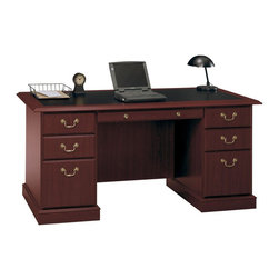 Bush - Bush Saratoga Executive Home Office Wood Managers Desk in Cherry - Bush - Executive Desks - EX4566603K - If you want to make a sweeping statement without saying a word, the Bush Saratoga Executive Pedestal Desk is the solution of choice. This luxury desk features lockable filing drawers that accept letter, legal or A4-size files.