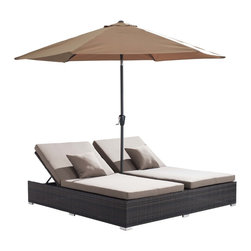 Zuo - Zuo Atlantic Double Espresso Chaise Lounge - This double lounge chair is a great way to spend hours by the poolside on hot sunny days. A tall umbrella provides perfect shade and the weave pattern creates a textured design that will look great on any patio.
