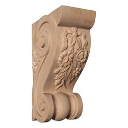 "Inviting Home - Sanford Medium Wood Bracket - Cherry (B19MCH/cf7) - wood bracket in cherry 7""H x 4-3/4""D x 2-3/4""W Corbels and wood brackets are hand carved by skilled craftsman in deep relief. They are made from premium selected North American hardwoods such as alder beech cherry hard maple red oak and white oak. Corbels and wood brackets are also available in multiple sizes to fit your needs. All are triple sanded and ready to accept stain or paint and come with metal inserts installed on the back for easy installation. Corbels and wood brackets are perfect for additional support to countertops shelves and fireplace mantels as well as trim work and furniture applications."