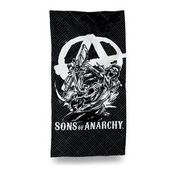 Zeckos - SOA `Anarchist Reaper` Sons of Anarchy Beach Towel 60 in. - Show your support for your favorite show with this officially licensed beach towel ready for the beach or pool Featuring the `Anarchist Reaper`, this beach towel is an essential addition to the collection of any `Sons of Anarchy fans. Made from 100% cotton, it measures 30 inches wide by 60 inches long (76x152 cm), and is recommended to machine wash in cold water, and tumble dry low. You can take it on vacation, a picnic in the park, use it at home or hang it on the wall This awesome towel makes a great gift any follower of `Sons of Anarchy` is sure to enjoy