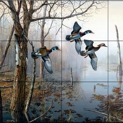 The Tile Mural Store (USA) - Tile Mural - Backwater - Kitchen Backsplash Ideas - This beautiful artwork by Jim Hansel has been digitally reproduced for tiles and depicts three ducks flying in the woods.  Images of waterfowl on tiles are great to use as a part of your kitchen backsplash tile project or your tub and shower surround bathroom tile project. Pictures of egrets on tile, images of herons on tile and decorative tiles with ducks and geese make a great kitchen backsplash idea and are excellent to use in the bathroom too for your shower tile project. Consider a tile mural of water fowl for any room in your home where you want to add interesting wall tile.