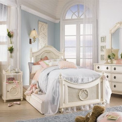 Emma's Treasures Poster Bed - Sweet dreams and the Emma's Treasures Poster Bed go hand in hand. The vintage white finish, curved headboard, ornate details, finials, and carved embellishments all contribute style worthy of a fairytale. Wood construction ensures lasting quality. Choose from a variety of sizes. The twin and full sizes include the headboard, footboard, and rails. The queen size includes the headboard only.Headboard Dimensions:Twin: 42W x 3D x 55H in.Full: 57W x 3D x 58H in.Queen: 64W x 3D x 58H in.About Lea IndustriesLea Industries, a La-Z-Boy Furniture Company, is a leading manufacturer of youth furniture. The Emma's Treasures Collection is a perfect example of the craftsmanship and style Lea is dedicated to preserving. Featuring clean lines and subtle design elements, the Emma's Treasures Collection is a fashionable option for girls and boys alike. Each piece is crafted from fine hardwoods, veneers, wood products, and simulated wood to ensure both durable and quality furniture that will stand up to the wear and tear of youth use.Lea's youth furniture offers a wide assortment of styles for both girls and boys, with a broad selection of specialized, functional designs for today's active kids - including four-poster canopy beds, bunk beds, storage beds, dual sleep beds, student desks, and learning centers for youth computing. Lea's wide variety of styles ranges from 18th century and country to casual contemporary. Lea traces its origins back to 1869. Their headquarters are located in Greensboro, N.C.
