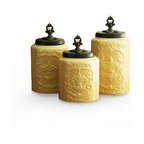 Jay Import Co. - Antique Canisters, Set of 3, Cream - Bring a sense of modern antiquity to your kitchen with this canister set. House your dry goods in style with these earthenware containers. They will add to the flow of a well-ordered kitchen a sense of loveliness.