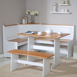 Linon - Ardmore Nook Set Multicolor - LHD419 - Shop for Dining Sets from Hayneedle.com! Provide charming seating for six with the Ardmore Corner Nook Dining Set. This complete dining set fits snugly into a corner to maximize the space in your kitchen. The white corner unit features paneled backrests as well as pine seats and top surfaces. The backless bench for two displays coordinating colors as does the rectangular table which is the attractive centerpiece of this set. Wide legs and bases are featured throughout the set and all hardware is covered by matching plugs for aesthetics and safety. About Linon Home DecorLinon Home Decor Products has established a reputation in the market for providing the best trend-right products at the right price while offering excellent quality style and functional furnishings to every room in the home. Linon offers a broad selection of furnishings for today's discriminating and demanding retail environments. They offer outstanding values for every room; a total commitment of quality service and value that is unsurpassed in their industry.