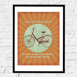 Bicycle Artwork- Bicycle Balance, 11X14 Inches - This special bicycle print only(not framed) is inspired by Einstein's quote on life. Subdued colors and understated typography lend a modern appeal.