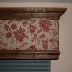 Wood Cornice by Coastal Blinds (239) 278-1818 with Fabric Inlay - Coastal Blinds and Shutters (239) 278-1818