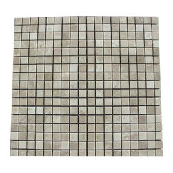 Botticino Beige Polished Square Pattern Mesh-Mounted Marble Tiles - .6 in. x .6 in. Botticino Beige Mesh-Mounted Square Pattern Marble Mosaic Tile is a great way to enhance your decor with a traditional aesthetic touch. This polished mosaic tile is constructed from durable, impervious marble material, comes in a smooth, unglazed finish and is suitable for installation on floors, walls and countertops in commercial and residential spaces such as bathrooms and kitchens.