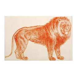 Lion Bath Mat - Invite this gentle giant into your bathroom.  The Lion Bath Mat features a hand silk-screened lion print atop smooth, off-white 100% cotton.
