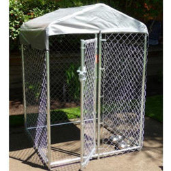 """Jewett-Cameron Companies - Lucky Dog """"Hi-Rise"""" Box Kennel with Cover, 4'L x 4'W x 6'H - 6' high, box dog kennel, cover included. Easy to assemble welded and galvanized frame. Square corner safety design. Pre-assembled gate for ease of set up."""