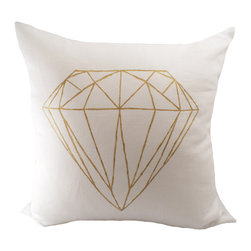 Gold Hand-Painted Diamond Pillow - A unique bridal shower or wedding gift, this hemp and organic cotton pillow features a hand-painted gold diamond. You could also place it on an antique couch or chair for a fresh twist.