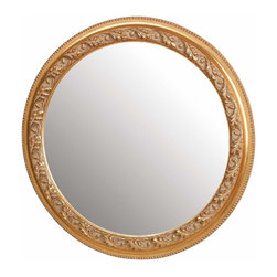 Renovators Supply - Mirrors Brass/Wood Mirror Gold Color Fin 19in. - Wall Mirror. Wooden Gold color finish 19 in. dia.
