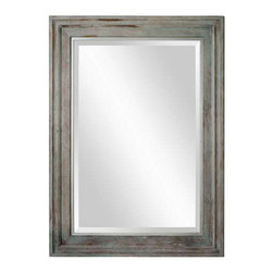 """Uttermost Myrrine Solid Wood Mirror - Solid wood construction finished in a heavily distressed aged green with white undertones. Features a solid wood frame construction finished in a heavily distressed, aged green with white undertones. Mirror has a generous 1 1/4"""" bevel. May be hung horizontal or vertical."""