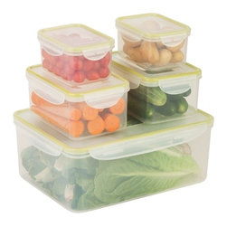 Snap-Tab 5 Piece Food Storage Set - Honey-Can-Do KCH-03831 5-Piece Locking Food Container Set, Clear. This 5-piece set of food storage containers is perfect for storing leftovers, make-ahead meals and on-the-go lunches. Each container is 100 percent air and water tight. The set includes two 0.43L containers, two 1.1L containers, and one 5.3L container.  Dishwasher, microwave and freezer safe. When using in microwave, open closure clips on each side and open corner of lid to vent. Not for use in ovens, under broilers or on stove-top. BPA Free.