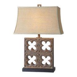 "Uttermost - Uttermost Vettore Lamp 11 x 20 x 28.25"", Bronze - Rustic bronze finish with burnished distressing, tan glaze and copper undertones. The rectangle semi bell shade is a coarse weave, beige linen fabric.Designer: David FrischWattage: 100WDimensions: 11"" depth by 20"" width by 28.25"" heightMaterial: poly/metal"