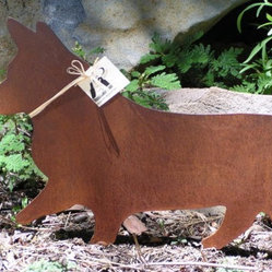Rusty Finish Pembroke Corgi Metal Garden Art By Mountain Iron