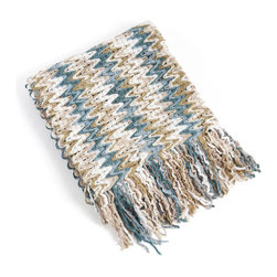 None - Knitted Chevron Design Throw Blanket - Keep yourself warm at home with the knitted chevron design throw blanket. Machine washable for easy care and repeated use,this cozy throw will bring a soothing ambiance to any room.