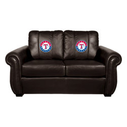 Dreamseat Inc. - Texas Rangers MLB Chesapeake BLACK Leather Loveseat - Check out this awesome Loveseat. It's the ultimate in traditional styled home leather furniture, and it's one of the coolest things we've ever seen. This is unbelievably comfortable - once you're in it, you won't want to get up. Features a zip-in-zip-out logo panel embroidered with 70,000 stitches. Converts from a solid color to custom-logo furniture in seconds - perfect for a shared or multi-purpose room. Root for several teams? Simply swap the panels out when the seasons change. This is a true statement piece that is perfect for your Man Cave, Game Room, basement or garage.