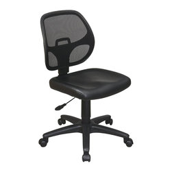 Office Star - Office Star Mesh Screen Back Task Chair with Vinyl Seat - Office Star - Office Chairs - EM2910V