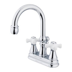 """Kingston Brass - Two Handle 4"""" Centerset Lavatory Faucet with Brass Pop-up KS2611PX - Two Handle Deck Mount, 3 Hole Sink Application, 4"""" Centerset, 3 hole 4"""" center spread installation, Fabricated from solid brass material for durability and reliability, Premium color finish resist tarnishing and corrosion, 1/4 turn On/Off water control mechanism, 1/2"""" IPS male threaded shank inlets, Ceramic disc cartridge, 2.2 GPM (8.3 LPM) Max at 60 PSI, Integrated removable aerator. Manufacturer: Kingston Brass. Model: KS2611PX. UPC: 663370015793. Product Name: Two Handle 4"""" Centerset Lavatory Faucet with Brass Pop-up. Collection / Series: GOVERNOR. Finish: Polished Chrome. Theme: Contemporary / Modern. Material: Brass. Type: Faucet. Features: Drip-free ceramic cartridge system"""