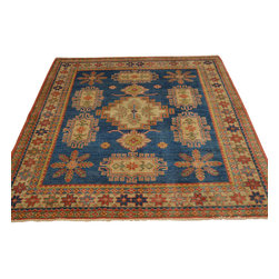 Denim Blue 100% Wool Tribal Design Kazak 5'x7' Hand Knotted Oriental Rug Sh17667 - Our Tribal & Geometric hand knotted rug collection, consists of classic rugs woven with geometric patterns based on traditional tribal motifs. You will find Kazak rugs and flat-woven Kilims with centuries-old classic Turkish, Persian, Caucasian and Armenian patterns. The collection also includes the antique, finely-woven Serapi Heriz, the Mamluk Afghan, and the traditional village Persian rug.