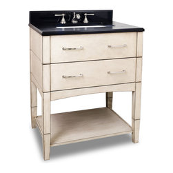 "Hardware Resources - 30-1/2"" Solid Wood Vanity  VAN086-T - This 30-1/2"" solid wood vanity has a rich French White finish to give this contemporary vanity a historic feel. This vanity features clean lines and satin nickel hardware.  Two fully working drawers, fitted around the plumbing, and open bottom shelf gives this vanity ample storage.  This vanity has a 2.5CM black granite top preassembled with an 16-5/16"" x 11-7/16"" rectangle bowl, cut for 8"" faucet spread, and corresponding 2CM x 4"" tall backsplash.   Overall Measurements: 30-1/2"" x 22-1/4"" x 36"" (measurements taken from the widest point) Finish: French White Material: Wood Style: Transitional Coordinating Mirror(s): MIR086 Bowl: H8910WH Coordinating Hardware: MO6373-128NI"