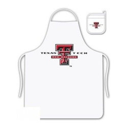 Sports Coverage - Texas Tech Red Raiders Tailgate Apron and Mitt Set - Set includes your favorite collegiate Texas Tech University Red Raiders screen printed logo apron and insulated cooking mitt. White apron with white silver backed mitt. Both items are logoed. Tailgate Kit apron and mit is 100% cotton twill with screenprinted logo.