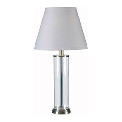 Kenroy Home - Kenroy Home 32080 1 Light Table Lamp with On / Off Rotary Switch from the Echo C - 1 Light Table Lamp with On / Off Rotary Switch from the Echo CollectionTransparent Glass matches everything and has an elegant presence that is light and airy. These sleek cylinders can be dressed up or down making them extremely versatile.Features: