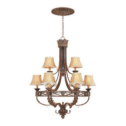 Designers Fountain - Tuscan Nine Light Up Lighting Two Tier Chandelier - Bulb Base:Candelabra (E12). Bulb Count:9. Bulbs Not Included