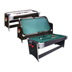 Fat Cat - Fat Cat 7 ft. Black Pockey Table - Billiard & Air Hockey - 64-1010 - Shop for Multi and Other Game Tables from Hayneedle.com! The Fat Cat 7 ft. Black Pockey Table - Billiard & Air Hockey offers double the fun with air hockey on one side and pool on the other! Simply flip the tabletop to its reverse side to easily transition between fast paced games of air hockey and satisfying games of pool.Additional SpecificationsMaximum Density Fiber construction will ensure this game table holds up to plenty of use. Top rails are 1 inch deep on air hockey table for reliable rebounds and to keep puck in play. Pool table rails are cushioned for faithful bank shots. A sleek black cabinet will coordinate well with any contemporary decor. This set includes felt brush chalk air hockey paddles air hockey puck billiard balls triangle rack and two cue sticks. Air hockey table dimensions are 74 by 38 inches; pool table dimensions are 70 by 34 inches.High output blower creates a thicker cushion of air to keep the puck in motionThe fun will last twice as long with this incredible 2 in 1 air hockey and pool table! Add this double game table to your game room by ordering today.Shipping NoteThis table will ship directly to your home via a freight carrier. The freight carrier will contact you to set up an appointment for curb side delivery. When the truck arrives at your home it is at the driver s discretion as to whether they assist you in carrying the table into your home or garage. We strongly recommend having two strong people available in the event that the driver will not assist in bringing the table into your home.Do-It-Yourself InstallationThis table has been designed for quick and easy installation with basic tools and a minimum amount of skill. The top portion of the table (including playing surface felt rails and ball return) will arrive pre-assembled as one unit. The legs and and the chassis will need to be assembled and bolted to the top portion. Total assembly time is ap