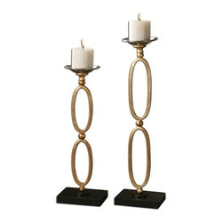 Uttermost - Lauria Chain Link Candleholders Set of 2 - Metal, chain link candleholders finished in metallic gold leaf with chrome candle cups and matte black bases.