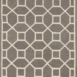 """Loloi Rugs - Loloi Rugs Stephanie Collection - Grey / Ivory, 2'-3"""" x 7'-6"""" - An instant upgrade for rooms ranging from modern to sophisticated, the bold and tonal Stephanie Collection is hooked in India of 100% wool. Each design is featured on a high-low pile for a sense of dimension and textural interest. Available in 6 sizes including a scatter and runner."""