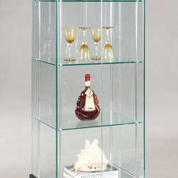 Chintaly Imports - Glass Curio - All glass curio with high gloss black base. The base contains a drawer for storage. Accented in shiny stainless steel. 360 degree view of cabinet contents. All glass is tempered. There is a lock at top of front door.