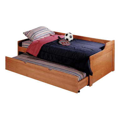 Chelsea Home - Twin Trundle Bed - Mattress not included. Rustic style. Hand finished stain with three step process to compliment natural wood grain. Rails connect to bed ends by metal to metal machine bolt and t-nut for a secure hold. Meet and exceed all of the following rules: ASTM F-1427-07, CFR 1213, CFR1513 and lead testing. Constructed for strength and durability. Warranty: One year. Made from solid pine wood. Honey finish. Made in Brazil. Assembly required. 84 in. L x 42 in. W x 28 in. H (101.2 lbs.)