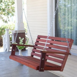 "Bay Ridge Wood Porch Swing with Optional Swing Cushion - Even better than before!We think all our porch swings are pretty fantastic but we also know each one could be even better with a little help. That's why we give you the """"hardware"""" option to add on our comfort springs and hanging hooks. You'll love the security you get with these swing hangers. Each one is covered in high-impact ABS plastic to prevent rusting. The metal comfort springs are pretty much the best porch swing accessory ever. Each one has a 600-lb. weight capacity and they're super shock absorbers. They give your swing a little extra bounce. Get an exceptional value with classic design. The Bay Ridge Porch Swing is made of kiln-dried red shorea (red lauan) an excellent and rich-looking wood that is similar to teak. The wood is dipped in an oil stain for a rich and beautiful finish. After assembly we suggest wiping the wood with a damp cloth to remove the excess oil. A contoured seat allows for many hours of comfortable relaxation on this swing. This porch swing offers enduring quality and comfort. About Shorea Wood and Linseed Oil Shorea is possibly the best wood choice for outdoor furniture. Related to Burma teak this hardwood grows naturally and plentifully in the Pacific Rim countries. Because shorea is dense heavy and hard and contains an abundance of natural oils it is highly resistant to rot bug infestation weather and marring. Shorea (red lauan) wood will have variations is color - from a red to a yellow cast. The Shorea wood for this item is treated with linseed oil. Linseed oil is not a varnish. The oil soaks into the pores of the wood leaving a shiny (not glossy) surface that shows off the grain of the wood. Linseed oil helps protects the wood from denting by compression and from accelerated deterioration. After assembly simply wipe the bench with a damp cloth to remove any excess oil that may be remaining. Please note that it is recommended to let your bench sit outside for 2-3 days before sitting on it to let the stain air out and completely dry. Shorea is strong and weather-resistant enough to be left untreated. If left untreated each piece will weather to a nice shade of gray. The weathering process will change the color but the grain will still be smooth. You may treat each piece with linseed oil to prolong weathering. Each piece is durable classic and elegant. An Eco-Friendly ChoiceWe realize the importance of preserving our environment. Regulations on harvesting shorea wood promote the sustainability of the species and encourage responsible practices for the sake of conservation. Shorea trees are not allowed to be harvested until they reach a certain size which allows younger trees to grow and reproduce. When you purchase furniture made of shorea wood you're not only getting a piece of great quality and durability but you're also contributing to the wise use of natural wood resources. An exceptional value for your home."