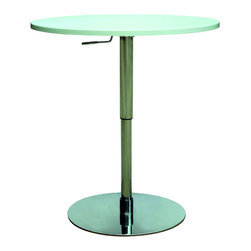 "Chintaly Imports - Chrome/White Pneumatic Gas Lift Adjustable Height Pub Table - Modern pneumatic gas lift adjustable height pub table. The top is MDF finished in White with a stainless steel base. The table height can adjust from 30""-36� smoothly. Quality construction for long years of use. You will find many uses for this versatile table."