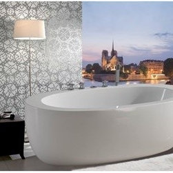 "Aquatica - Aquatica PureScape 174 Freestanding Acrylic Bathtub - White - Treat yourself and soak in peaceful tranquility with Aquatica's stylish and ergonomic PureScape 174 freestanding bathtub. Aquatica challenges everything we thought we knew about a bathtub with the world-class modern design and ergonomic features that are incorporated into all of their luxury tubs. Aquatica Purescape bathtubs are as pleasing to the eye as they are to soak in. Their striking visual appeal adds a mesmerizing modern elegance to any bathroom. From the finest selection of raw materials all the way to the high-class design, Aquatica has spared no expense to innovate and create some of the highest quality bathtubs in the world.Aquatica's bathtubs offer modern glamour at affordable prices. The Aquatica line is diverse enough to encompass both bathtubs with classical elegance that match the style of your bath and bathtub models that are distinctive and unique as the centerpiece of your remodel.FeaturesStriking upscale modern designFreestanding constructionSolid, one-piece construction for safety and durabilityExtra deep, full-body soakErgonomic design forms to the body's shape for ultimate comfortQuick and easy installationConstructed of 8mm thick 100% heavy gauge sanitary grade precision acrylicPremium acrylic and tub thickness provides for excellent heat retentionHigh gloss white surfaceColor is consistent throughout its thickness - not painted onColor will not fade or lose its brilliance overtimePreinstalled cable drive pop up and waste-overflow fitting includedDesigned for one or two person bathingNon-porous surface for easy cleaning and sanitizingBuilt-in metal base frame and adjustable height metal legsChrome plated drain5 Year Limited WarrantyCode compliant with American standard 1.5"" waste outletsSpecificationsOverall Dimensions: 68.75 in. L X 32.75 in. W X 22.75 in. HDepth to Overflow Drain: 14.5 in.Interior Depth: 17.75 in.Interior Length (Top): 57.67 in.Interior Width (Top): 26 in.Interior Length (Bottom): 43.33 in.Interior Width (Bottom): 19.75 in.Weight: 100 lbsCapacity: See Spec SheetShape: OvalDrain Placement: CenterSpec SheetNote: This model usually ships in 1-2 days. Please allow an additional 2-3 business days for order transmittal and verification."