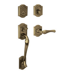 Baldwin Hardware - Baldwin Estate 85327 Bethpage Handleset, RH Keyed Entry, Satin Brass & Black - Equipped with Classic Lever, Right Handed, Keyed Entry