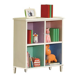 Coaster - Coaster Juliette Bookcase in White Finish - Coaster - Bookcases - 400577 - Combine function with a little splash of color and you got yourself the perfect little bookcase for your girl's little room. This bookshelf is ideal for those rooms that are space efficient and hold numerous purposes. Keep books games and dolls organized and tidy with the four compartmental bookshelves. Each shelf features its own color ranging from green to purple to pink to blue! Tapered thin legs and a clean square silhouette give this bookshelf the ideal timeless shape for any child's bedroom.