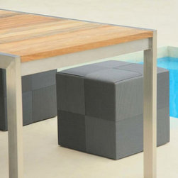 Square Outdoor Stool - The Square outdoor stool has an interior aluminum frame wrapped with a patchwork square pattern of Batyline. Available in several colors.