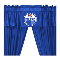 Sports Coverage - NHL Edmonton Oilers Long Drape Valance Set Hockey Window - FEATURES: