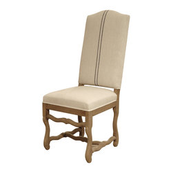 Kathy Kuo Home - French Country Camel Back Linen Gray Stripe Dining Chair - Formal but not fussy, this French country chair brings comfortable chic to your dining space. Traditional lines meet natural wood and linen for the ultimate in easy elegance.