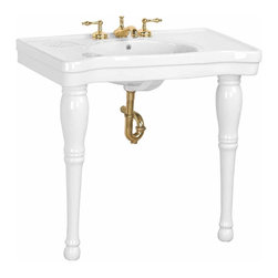 Renovators Supply - Console Sinks White China Belle Epoque Sink 2 Spindle Legs 8"""