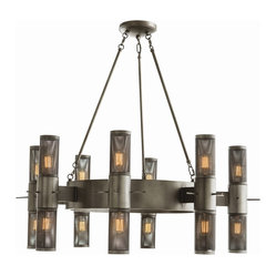 Arteriors - Dirk Chandelier - Eighteen light bulbs illuminate this striking work of iron and mesh. The mixed media give it an industrial feel, while the classically gothic design lends a touch of romance and substance. It's an edgy piece that would light up your grand dining room or entryway beautifully.