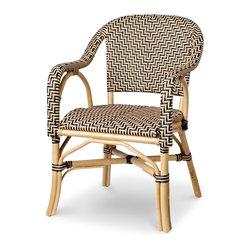 Palecek - Patio Terrace Chair - Pole rattan frame and legs. Seat and back woven with high-quality UV resistant plastic. Available only as shown.