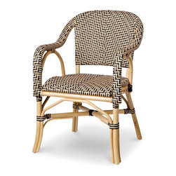 Palecek - Patio Terrace Chair - Pole rattan frame and legs. Seat and back woven with high-quality UV resistant plastic.