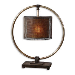 Uttermost - Dalou Hanging Shade Table Lamp - More a lantern than a lamp, this unusual table fixture has the shade on the inside and the base on the outside. It holds a 100 watt lightbulb so shedding light on the matter won't be a problem. But you might be tempted to carry it down a dark hallway to light your way.