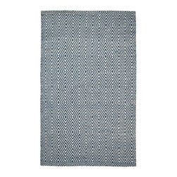 Hook & Loom Rug Company - Ashford Denim/White Eco Cotton Rug - Very eco-friendly rug, hand-woven with yarns spun from 100% recycled fiber.  Color comes from the original textiles, so no dyes are used in the making of this rug.  Made in India.