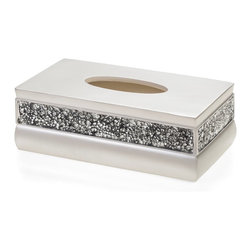 Creative Scents - Rectangular Brushed Nickel Tissue Box - A crackled glass inlay adds shimmering,reflective style to this rectangular tissue box. Decorated with a brushed nickel finish,this captivating bath accessory is crafted with resin to elevate the look of your decor.